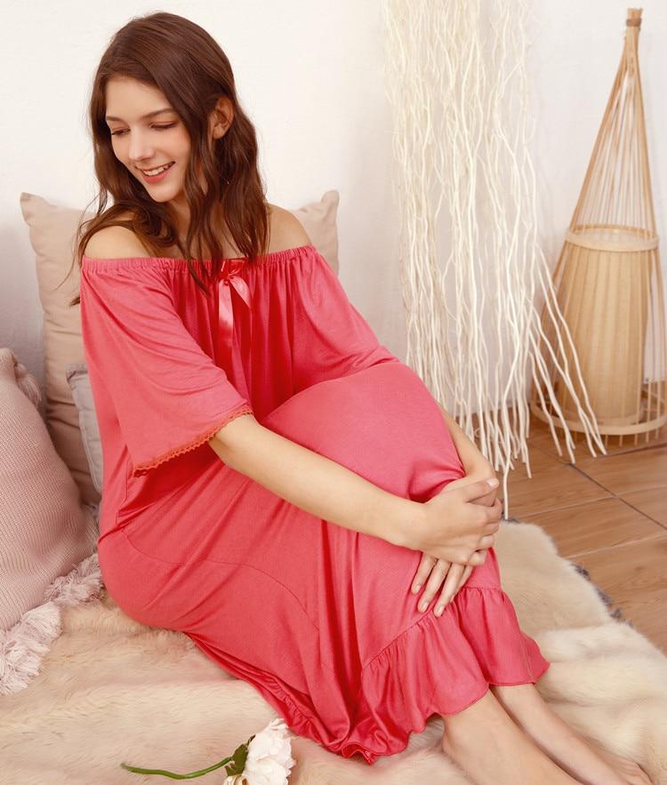 2019 Summer Women   Nightgowns     Sleepshirts   Modal Cotton Nightshirts Sleepwear Sexy Off Shoulder Nightdress Lace Nightwear