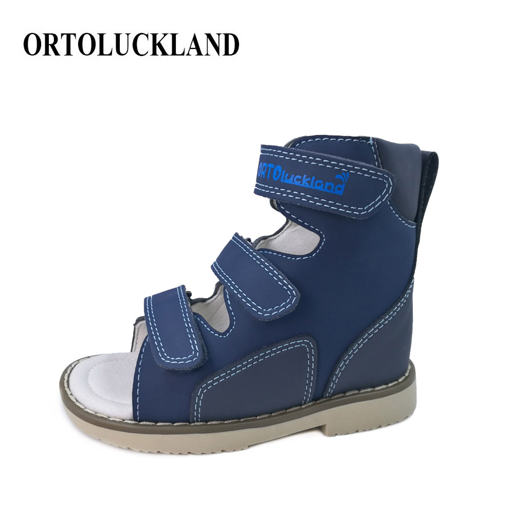 Ortoluckland New Children Sandals Boys Orthopedic Nubuck Leather Shoes Child Blue Black Casual Corrective Flat Shoes for kids