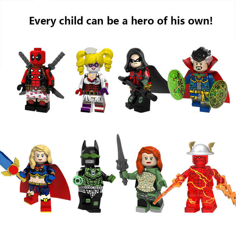 Super Hero Deadpool Doctor Strange Super Woman Robin Legoed Model Building Kits DIY Blocks Toys Wonder Woman FigureS For Kids