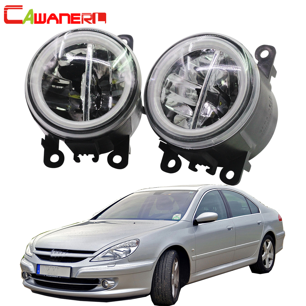Cawanerl For <font><b>Peugeot</b></font> <font><b>607</b></font> (9D, 9U) Saloon 2000-2006 Car Styling 4000LM LED Fog Light + Angel Eye Daytime Running Light DRL 12V image