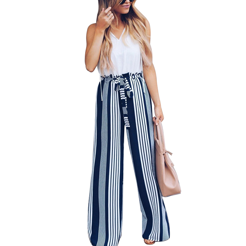 NORMOV Casual Loose Women   Pants   Fashion Mid Waist With Drawstring Striped Print Full Length Cotton   Wide     Leg     Pants   Office Lady