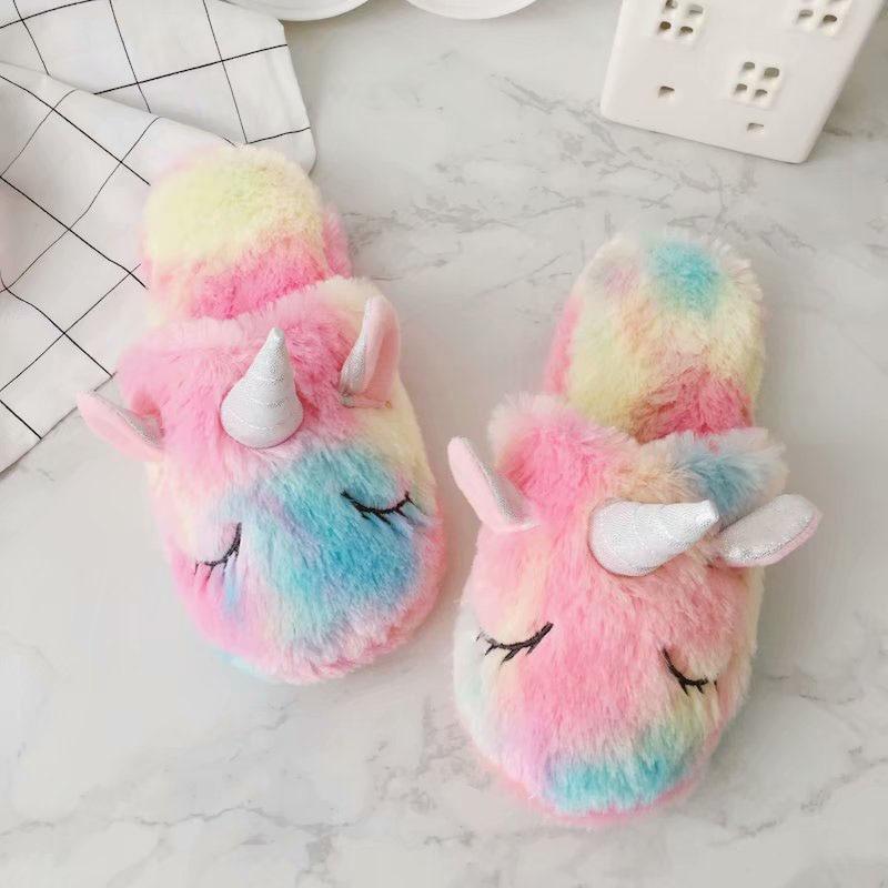 1Pcs Sweet Unicorn Baby Girls Shoes Plush Cute Cotton Slippers Autumn Winter Women Home Non-slip Warm Girls Shoes Slippers Set