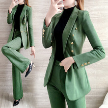 Green women pants suits Casual 2020 spring new fashion women clothing Long sleev