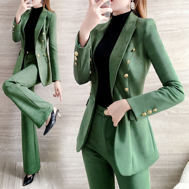 Green Women Pants Suits Casual 2020 Spring New Fashion Women Clothing Long Sleeve Top 2 Piece Set Office Lady Wide Leg Pants