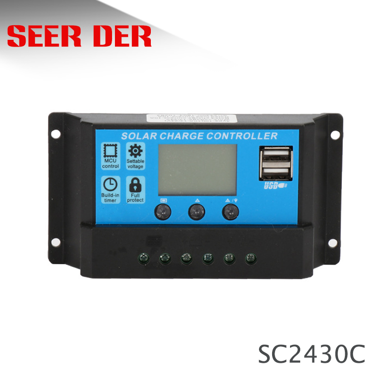Contrôleur de Charge solaire avec écran LCD et double port USB, 12V/24V, 10/20/30A, régulateur automatique de Charge solaire avec PWM avec sortie de 5V