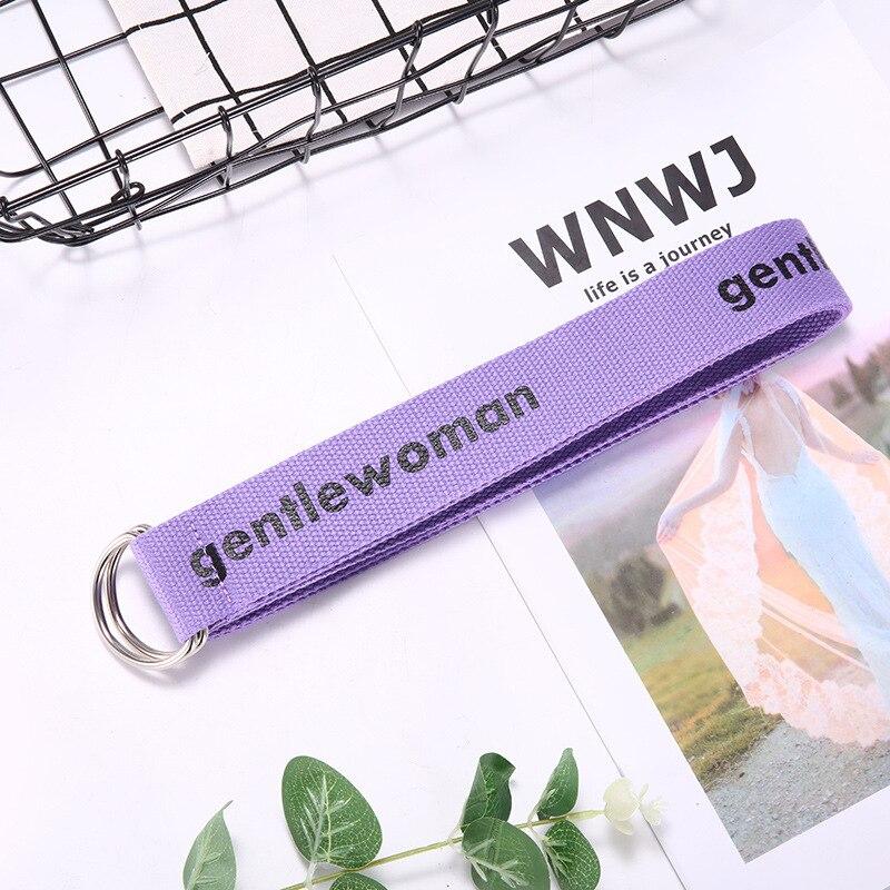 TagerWilen ремень стиль буквы напечатаны мода унисекс двойное D Кольцо холст ремень длинные джинсы ремни для женщин брезентовый мужской ремень - Цвет: GW-Purple