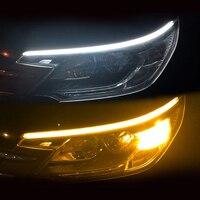 Tira LED DRL para coche, luces de circulación diurna, Bombilla de señal de giro Flexible, impermeable, 30 45 60cm, lámpara de flujo de freno Amarillo Blanco, 2 uds.