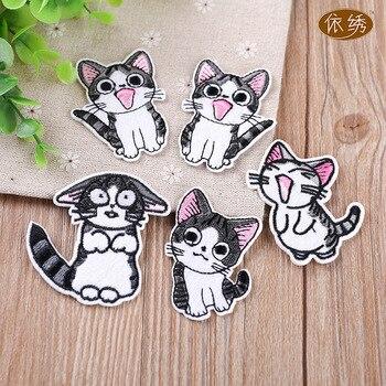 Милые коты Вышивка Патчи для куртки железо на перенос полосы одежда для Аппликации Наклейки одежда с животными значки для рюкзака