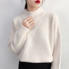 New Fashion  womens autumn and winter pullover sweater loose round neck stripes