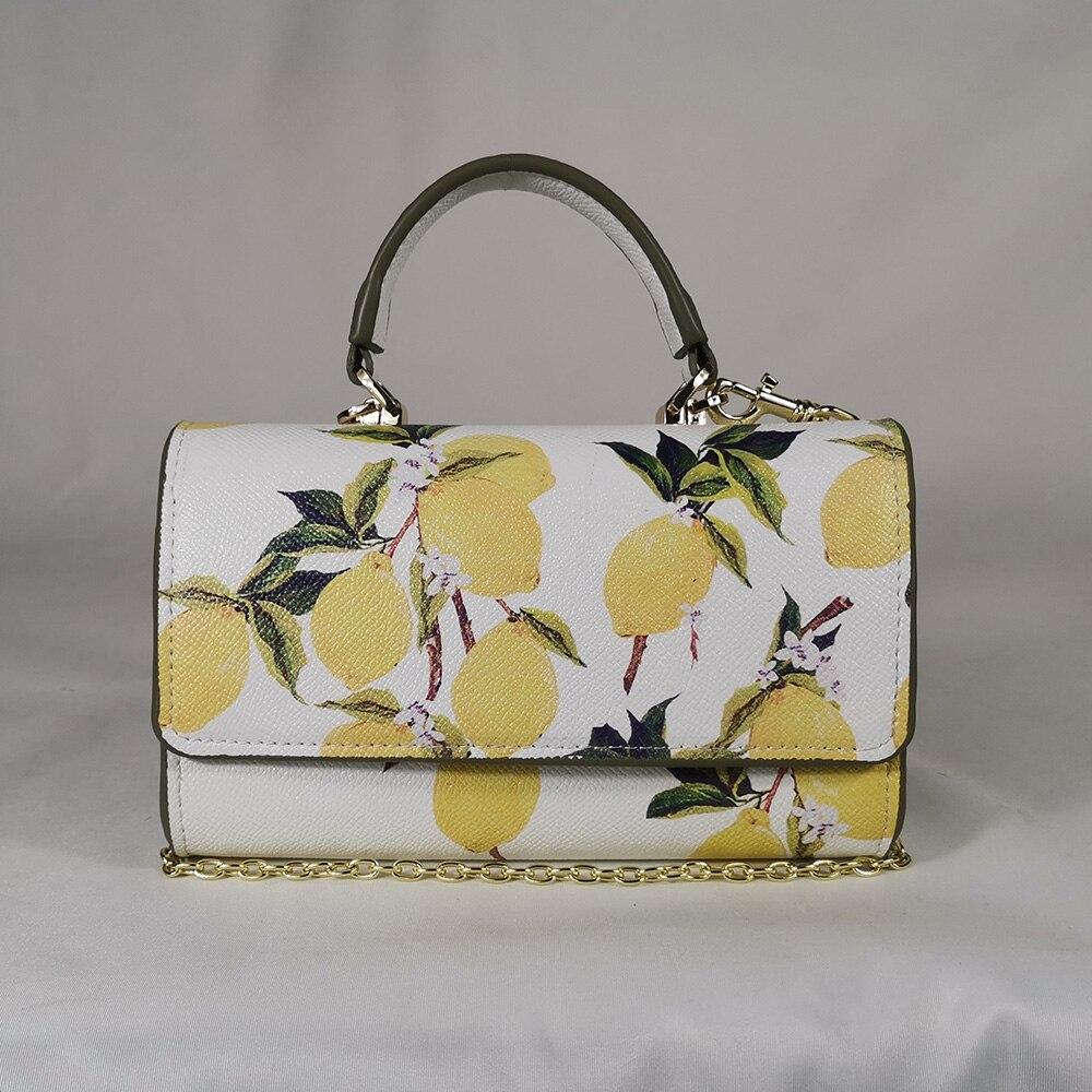 Portable Lemon Fruit Wild Messenger Bag Messenger Bag Sicilian Flower Chain Mini Handbag Small Phone Bag