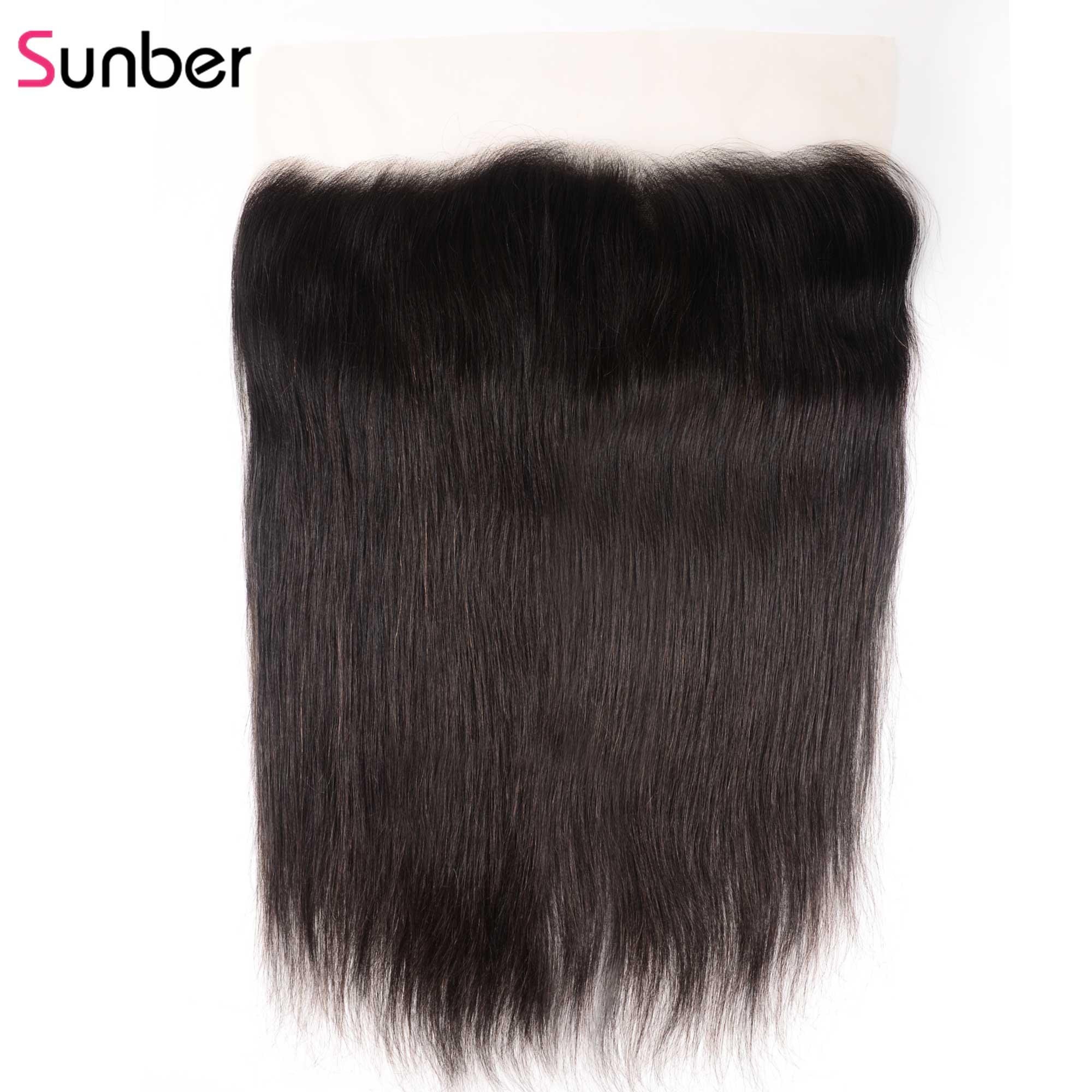 Sunber Hair13x6 transprent encaje Frontal pelo recto 100% cabello humano Remy oreja a oreja Cierre de encaje pelo peruano