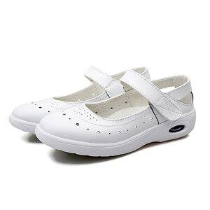 Image 5 - BEYARNEWomen płaskie buty kobieta obuwie miękkie wygodne damskie SlipOn pielęgniarka mokasyny białe oddychające płaskie zapatillas mujer