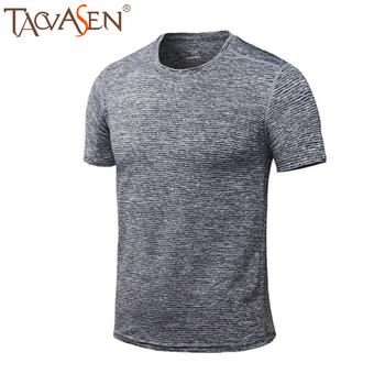 TACVASEN letnie odkryte piesze wycieczki koszulki męskie z krótkim rękawem elastyczne do ćwiczeń bieganie koszulki lekkie koszulki kulturystyczne tanie i dobre opinie COTTON Stałe Drytec Tees Camping i piesze wycieczki Pasuje mniejszy niż zwykle proszę sprawdzić ten sklep jest dobór informacji