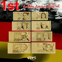 Billetes de oro de Alemania laminada en papel aluminio, 5, 10, 20, 50, 100, 200, 500, 1000