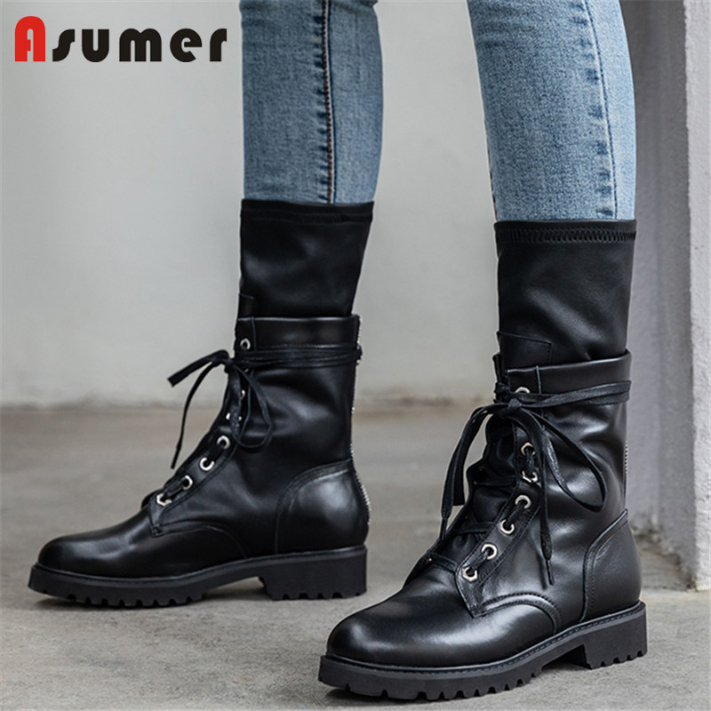 Asumer Boots Women Low-Heel Riding Genuine-Leather Ladies Black Lace-Up Solid Square