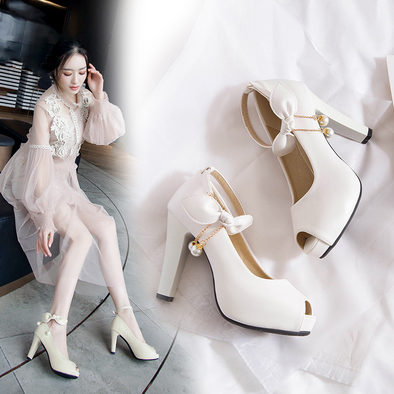 Fashion Ankle Strap Womens Shoes Heels White Pink Bowtie Bead High Heel Pumps Peep Toe Party Wedding Bride Shoes Summer