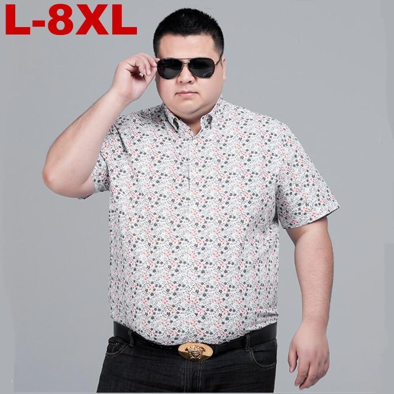 8xl 7XL Plus Size Men Fashion Slim Fit Casual Plaid Shirt Men Dress Shirts Short Sleeve Social Mens Shirt Striped Chemise Homme