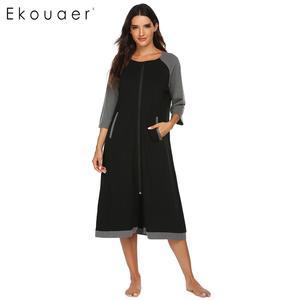Image 2 - Ekouaer 女性ロングバスローブジッパー閉鎖ローブ SleepwearO ネック半袖ローブ女性ドレッシングガウン部屋着ナイトウェア