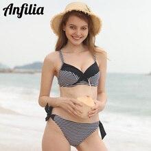 Anfilia Women Bikini Set Stripe Swimsuit Cross From Swimwear Strappy Bathing Suit Beachwear