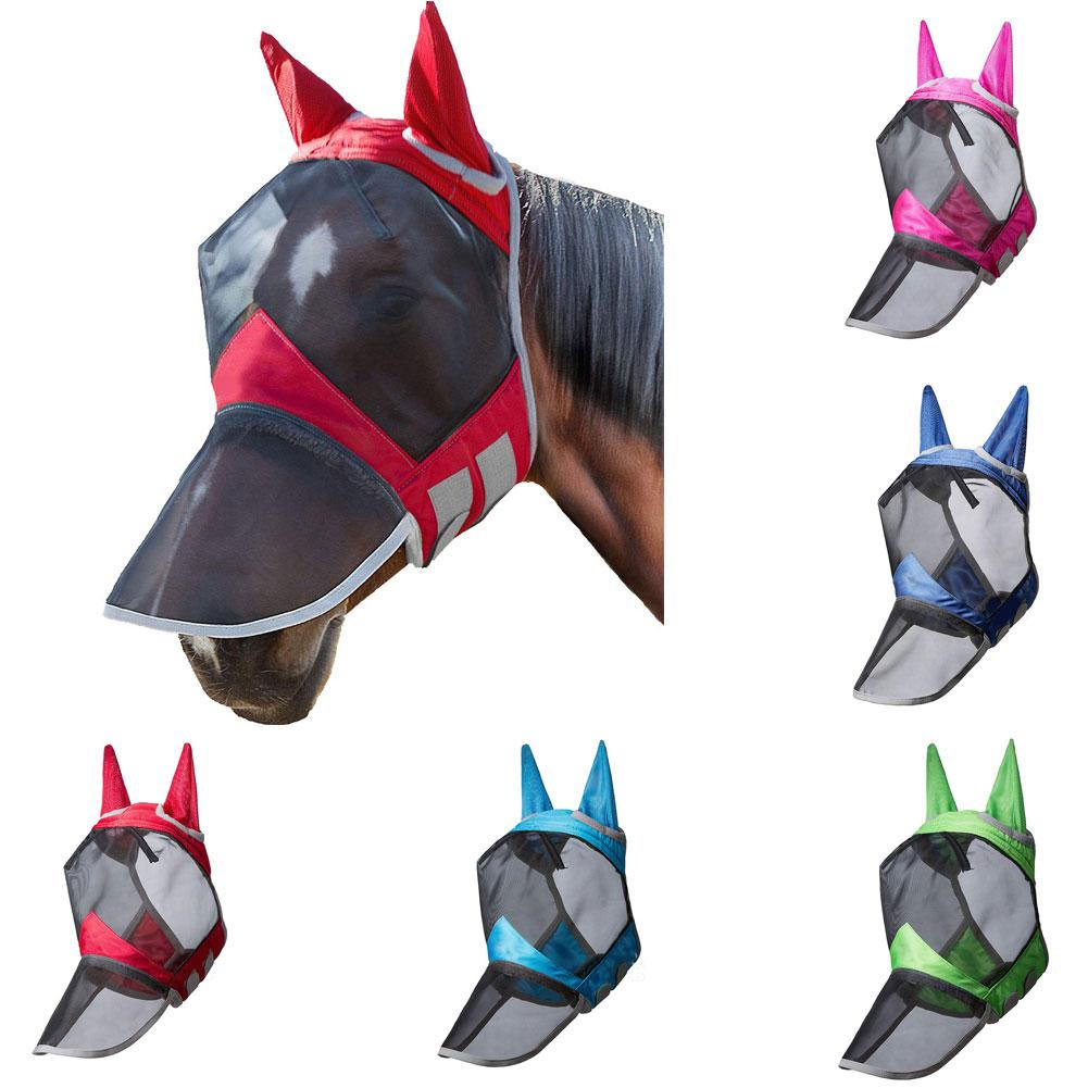 Anti-mosquito Horse Fly Mask Horse Full Face Protection Nose With Zipper Breathable Detachable Mesh Mask With Nasal Cover