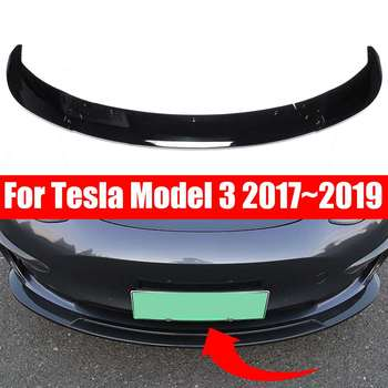 3Piece Universal Car Front Bumper Lip Chin Bumper Body Kits Splitter Diffuser For Tesla Model 3 2017~2019