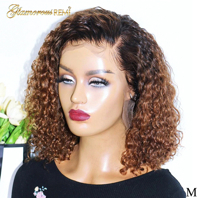 $ US $52.40 1B/27 Ombre Color Short Curly 13*4 Lace Front Human Hair Wigs Baby Hair Pre Plucked Remy Brazilian Lace Bob Wigs Bleached Knots
