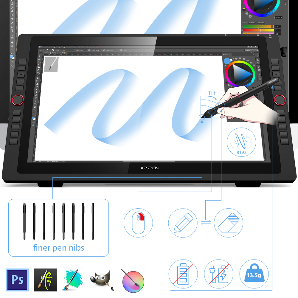 XP-Pen Artist 22R Pro Graphics Monitor Drawing Tablet Digital Monitor With Tilt with Shortcut keys and Adjustable Stand 2
