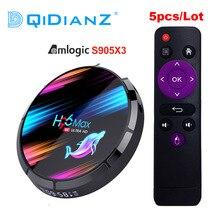 5 pçs/lote h96 max x3 android caixa de tv hd 8k h96max s905x3 caixa de tv android 9.0 conjunto caixa superior px x96 ar a95x f3 ar hk1 caixa