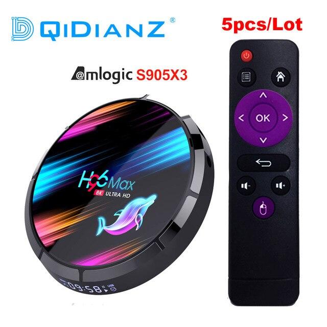 Décodeurs numériques, H96 MAX X3, X96, A95X F3, HK1BOX, boîtier pour smart TV, lecteur réseau 8K HD, streamer Android 9.0 avec processeur S905X3, lot de 5 unités