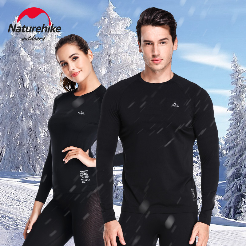 NatureHike Mens Base Layer Womens Long Sleeve Thermal Underwear Skiing Running Cycling Sports Baselayer Elastic Skin friendly Cycling Base Layers     - title=