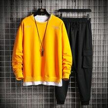 Tracksuit Men Outfits Clothing Sweatshirt Hip-Hop-Clothes Spring 2piece-Set Korean-Fashion