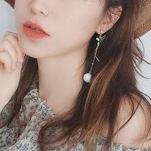 Fashion Jewelry Dangle Earrings Women Long Tassel Leaf Bird Asymmetric Stud 1 Pair Trendy for Xmas Gift
