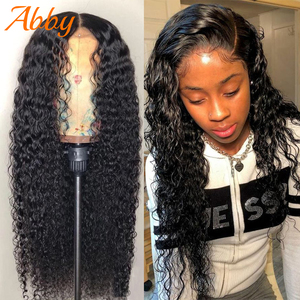 ABBY Water Wave Human Hair Wigs 180% Density HD Transparent Lace Frontal Wigs For Women Water Wave Lace Front Human Hair Wigs(China)
