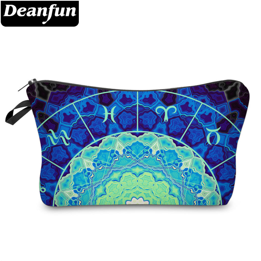 Deanfun Purse Makeup Bag Printed Elegant Blue Roomy Cosmetic Bag Durable Waterproof Makeup Travel Bag Dropshipping 51414
