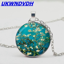 Van Gogh Almond Branch Floral Pendant Necklace Jewelry Gift Best Choice