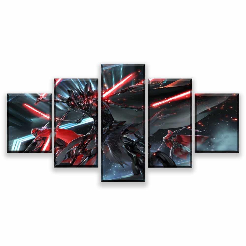 HD プリント写真壁アートキャンバスポスター家の装飾 5 個スター · ウォーズダース · ベイダー映画の絵画フレームワーク