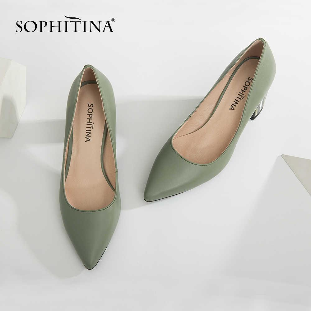 SOPHITINA kadın çalışma pompaları hakiki deri moda yüksek kare topuk sivri burun parti bahar ayakkabı el yapımı sığ pompaları A84