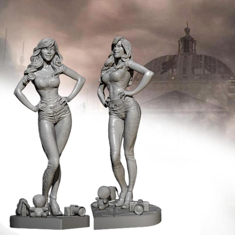 Unpainted 75MM Female Assassin Beauty Girl Resin Figure Model Kit Unassembled GK