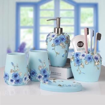 Łazienka pięć-przybory toaletowe umyć garnitur kubek do mycia trzy-kolorowy prezent ślub ślub ślub prezent na parapetówkę lw413925 tanie i dobre opinie ceramic