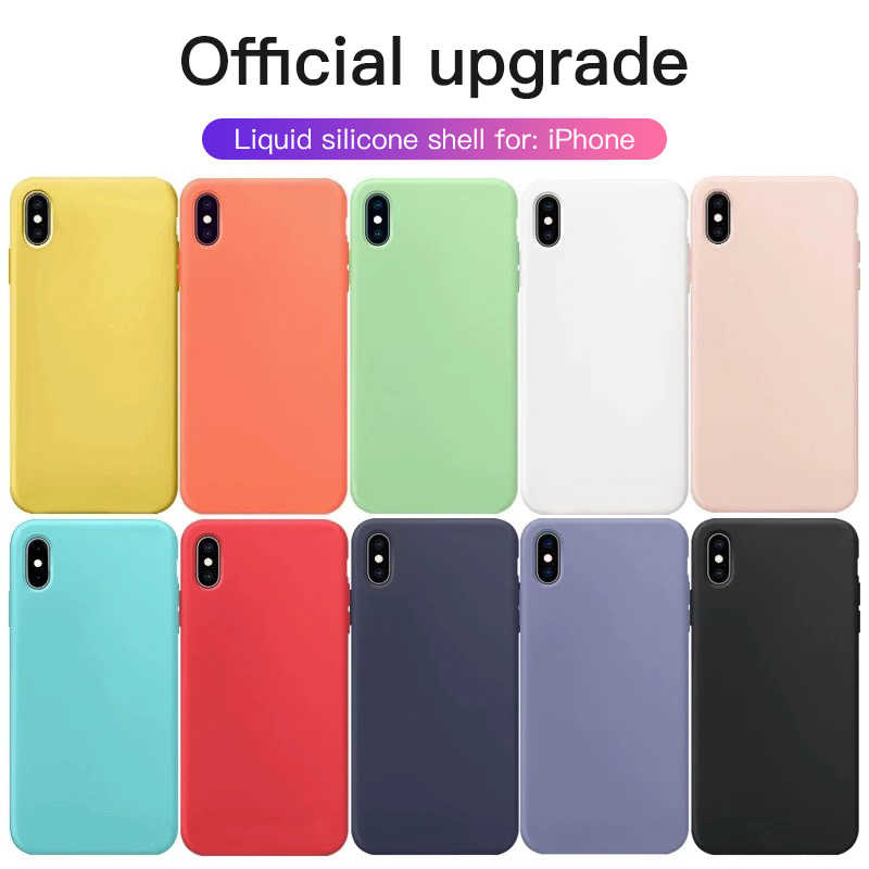 Funda de silicona Original para iPhone 7 8 11 Pro Max Funda de silicona de Color liso para iPhone 6 6s Plus X XR XS Funda coque fundas