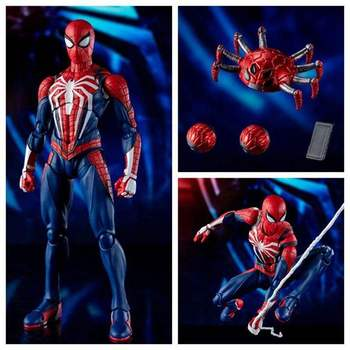 цена на New SHF Marvel Spiderman PS4 Advanced Suit PVC Action Figure Collectible Model Toy In Retail Box