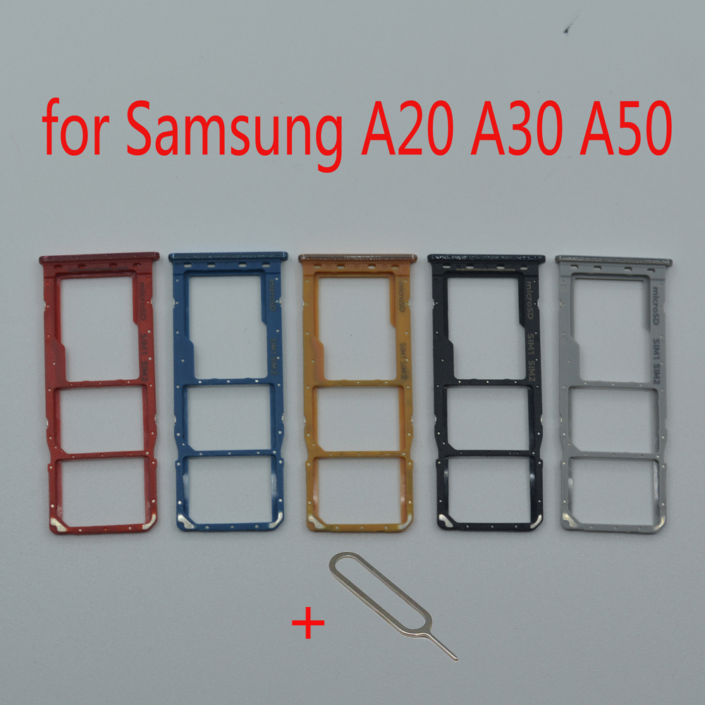SIM Card Tray Slot For Samsung Galaxy A20 A30 A50 A205 A305 A505 Original Phone Micro SD Card Adapter Holder Accessories