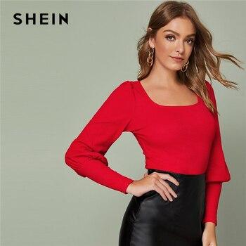 Shein sólido perna-de-carneiro manga superior fino cabido t outono colher pescoço sólido escritório senhoras elegantes t-shirts