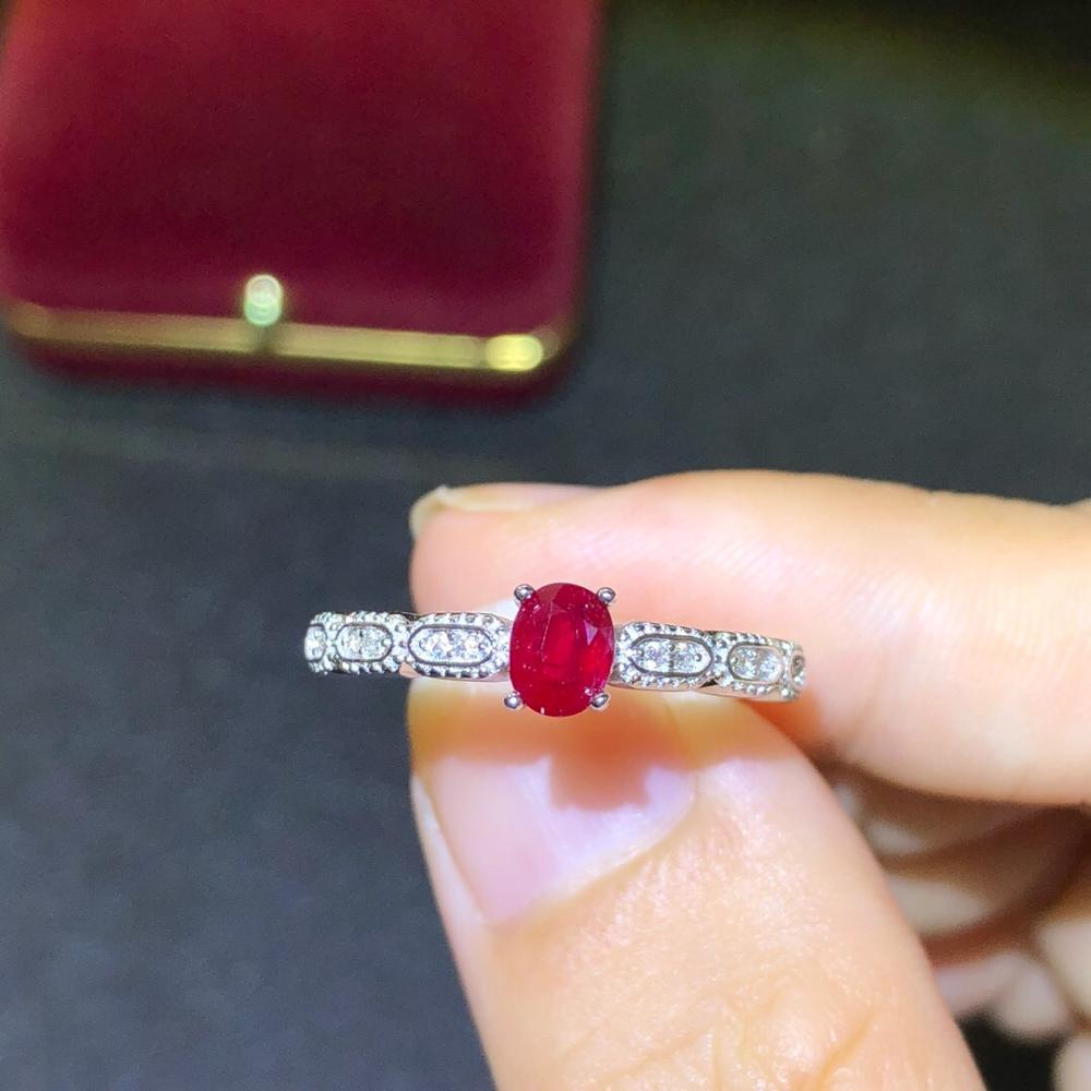 925 argent incrusté naturel pigeon sang rouge rubis anneau se réfère à la taille de la bague réglable pierre principale taille 4*5mm 925 bague en argent
