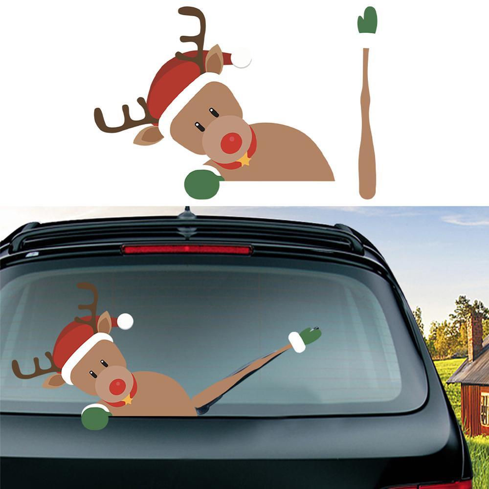 Christmas Car Rear Windshield Wiper Stickers Waterproof Windscreen Decals