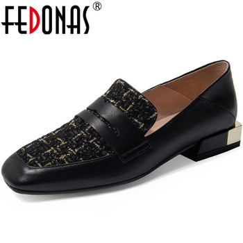 FEDONAS New Fashion Spring Summer Women Office Working Pumps  Metal Decoration Elegant Shoes Genuine Leather Square Heels Shoes