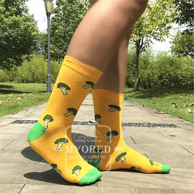 MYORED 1 pair men socks cotton funny crew cartoon animal fruit dog women novelty gift socks 1