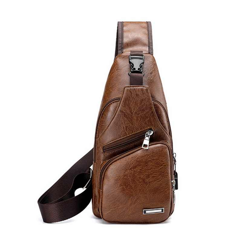 Puimentiua Chest Bag Men PU Leather Chest USB Backbag With Headphone Hole Travel Organizer Male Waist Bag Men Shoulder Bag