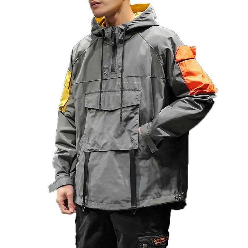 Spring Hip Hop Hooded Patchwork Mens Jacket Coat Male Hoodies Coats 2019 Men Black Couple Streetwear Hoody Bomber Jacket M-5XL
