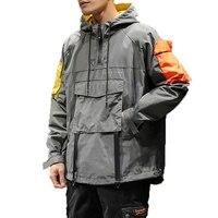 Spring Hip Hop Hooded Patchwork Mens Jacket Coat Male Hoodies coats 2019 Men Black Couple Streetwear Hoody bomber jacket M 5XL